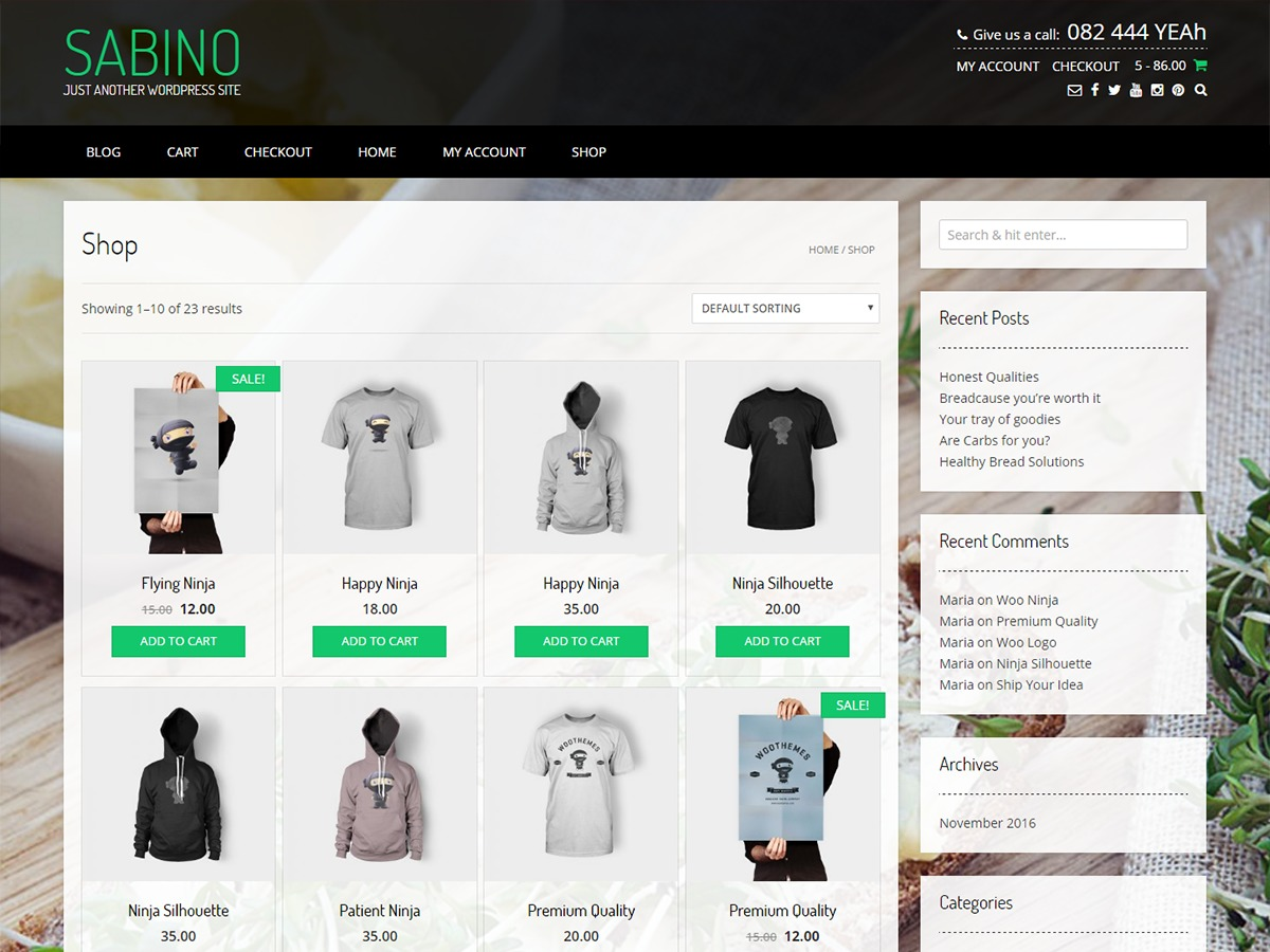 Sabino WordPress shop theme