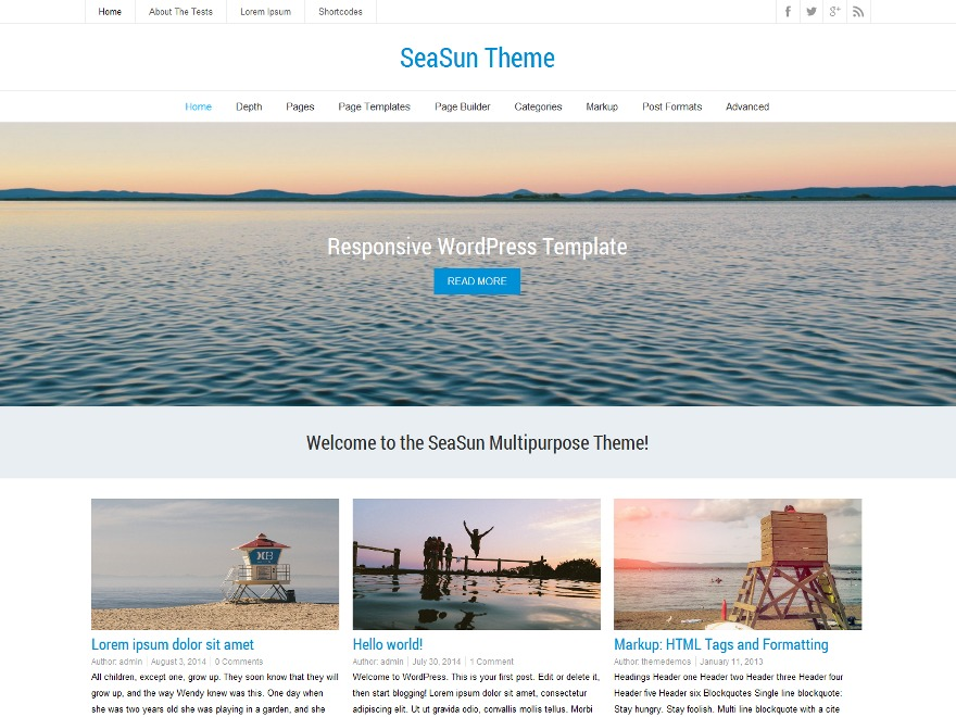 SeaSun free WordPress theme