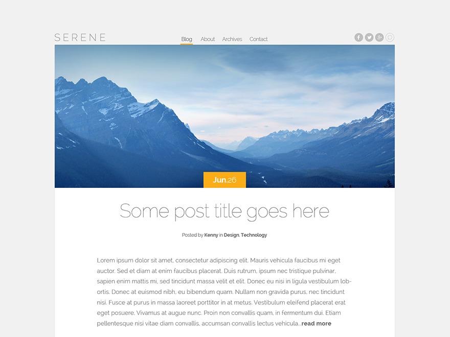 Serene WordPress blog template