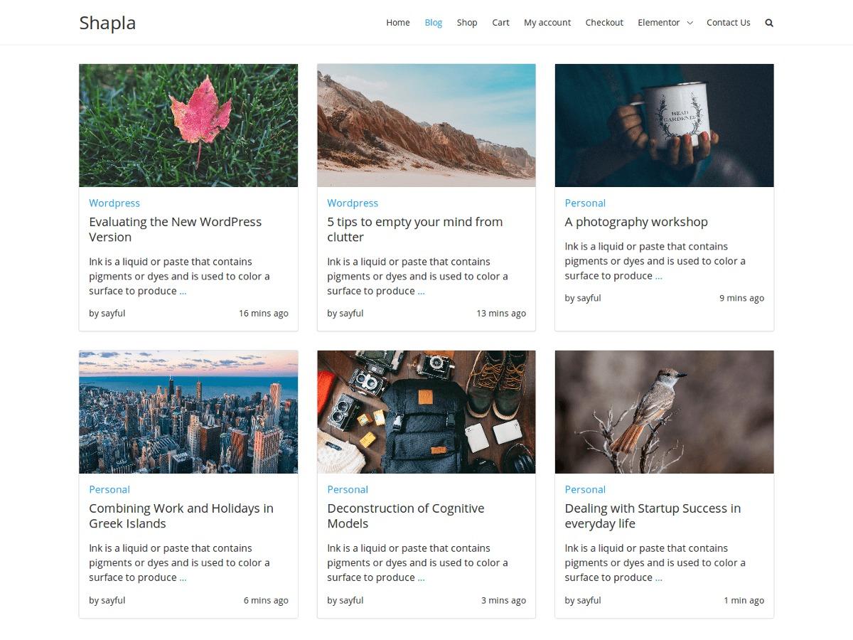 Shapla WordPress template free download