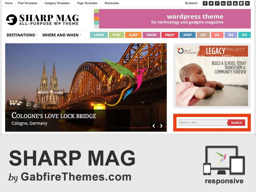 sharp WordPress page template