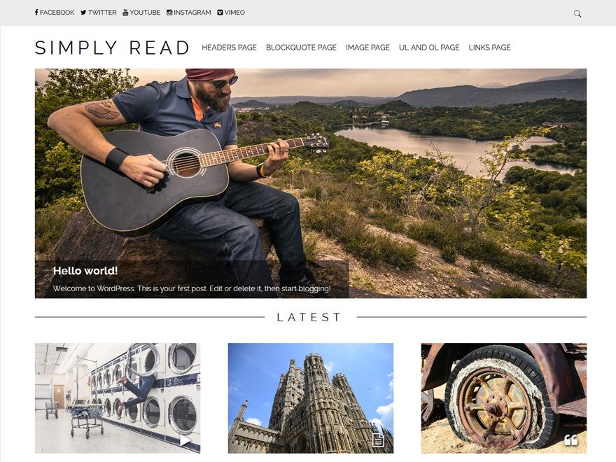 Simply Read WordPress blog theme