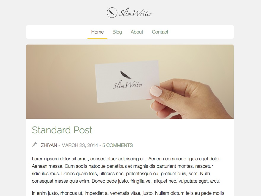SlimWriter free WordPress theme