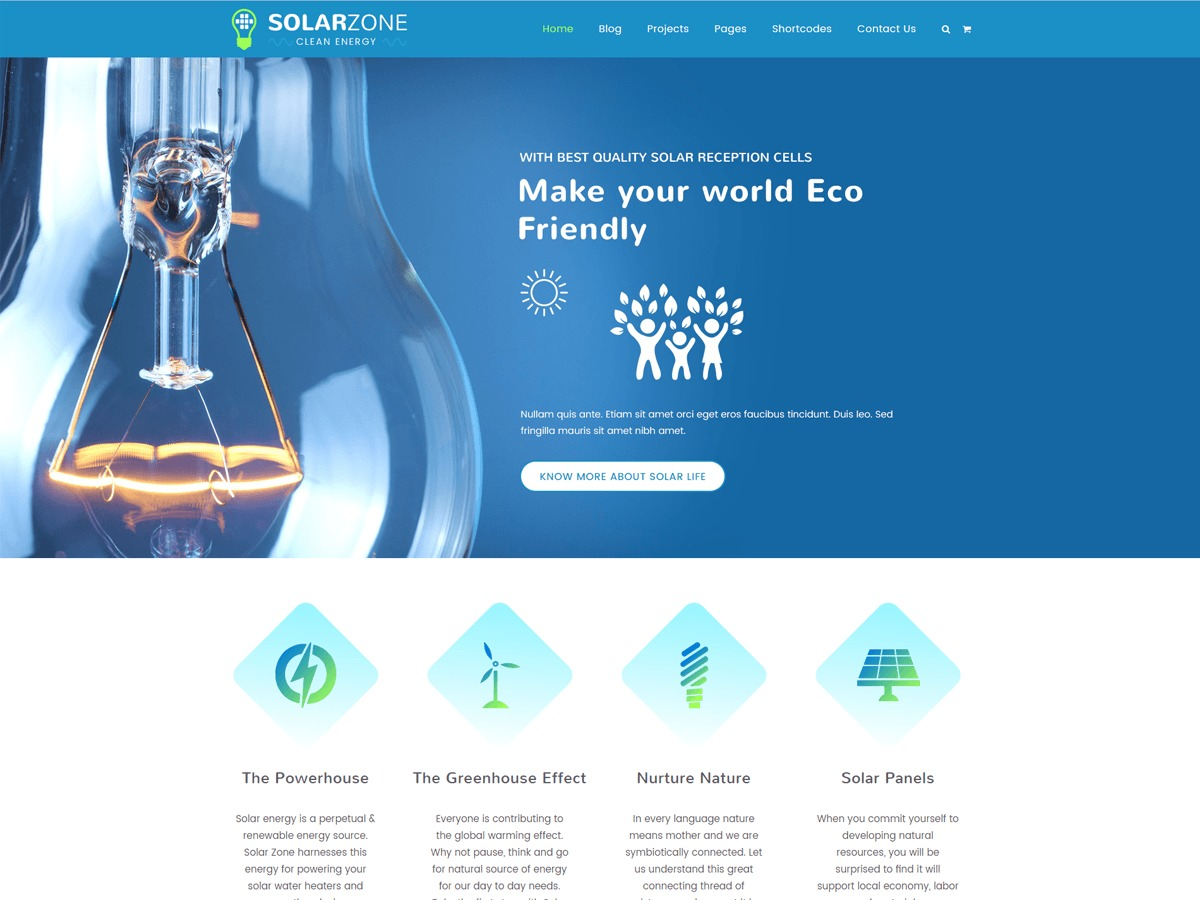 Solar WordPress blog template