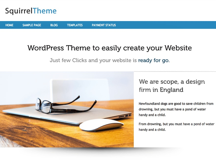 Squirrel free WordPress theme