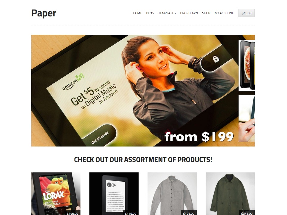 Storefront Paper WordPress shopping theme
