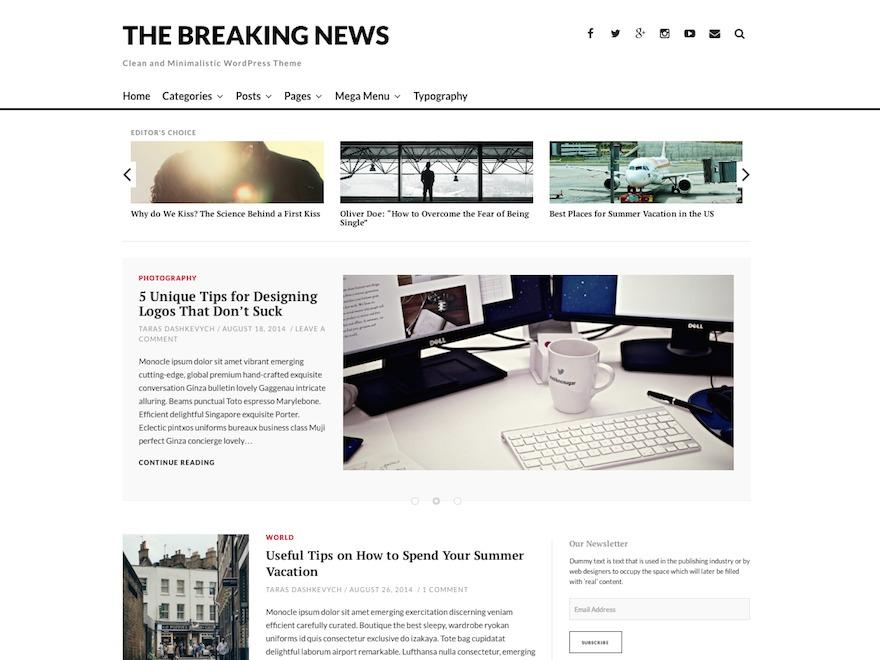 The Breaking News newspaper WordPress theme