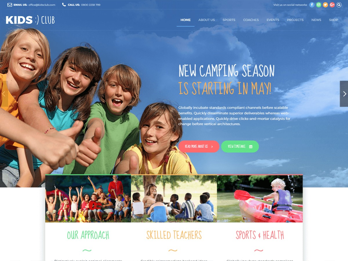Theme WordPress Kids Club
