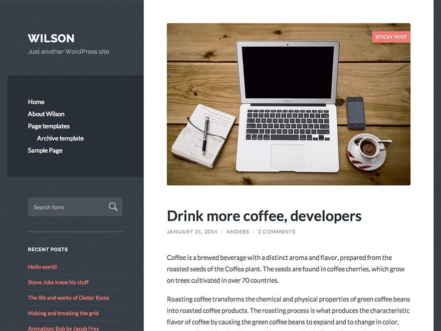Wilson WordPress blog template