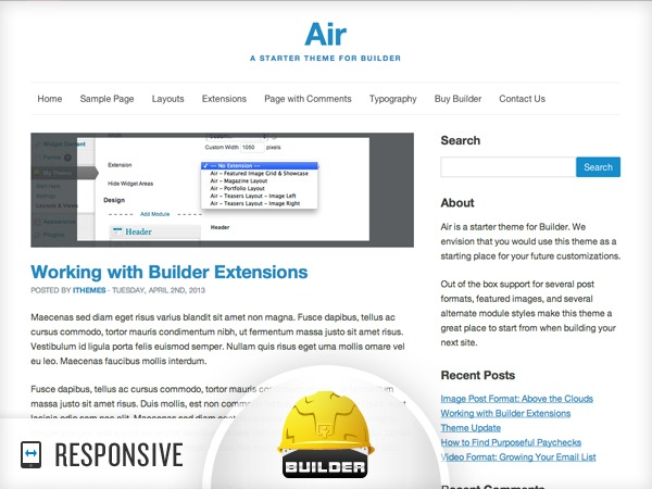 WordPress template Air - Custom