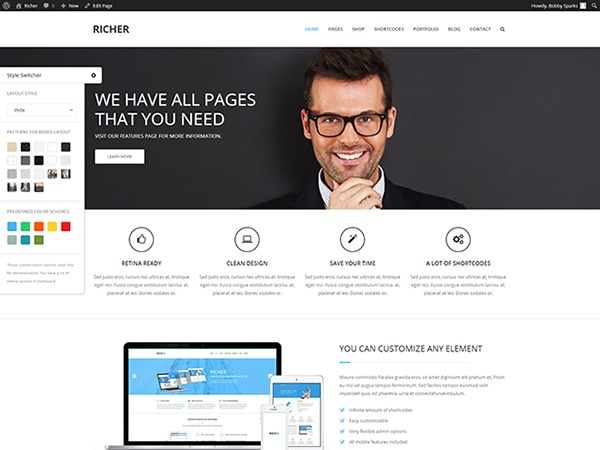 WordPress website template richer