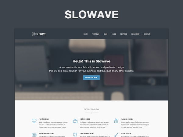WordPress website template Slowave