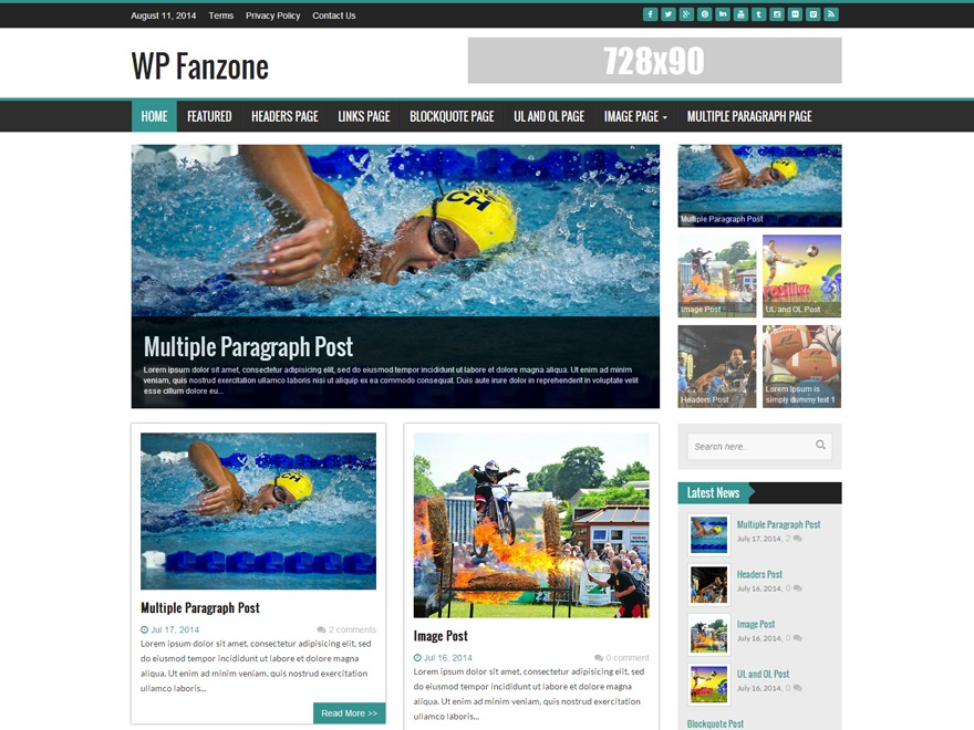 WP FanZone best WordPress magazine theme