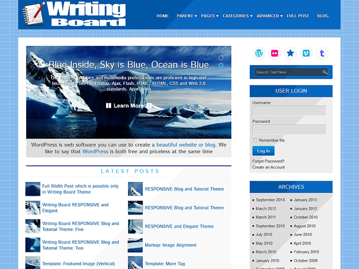 Writing Board free WP theme