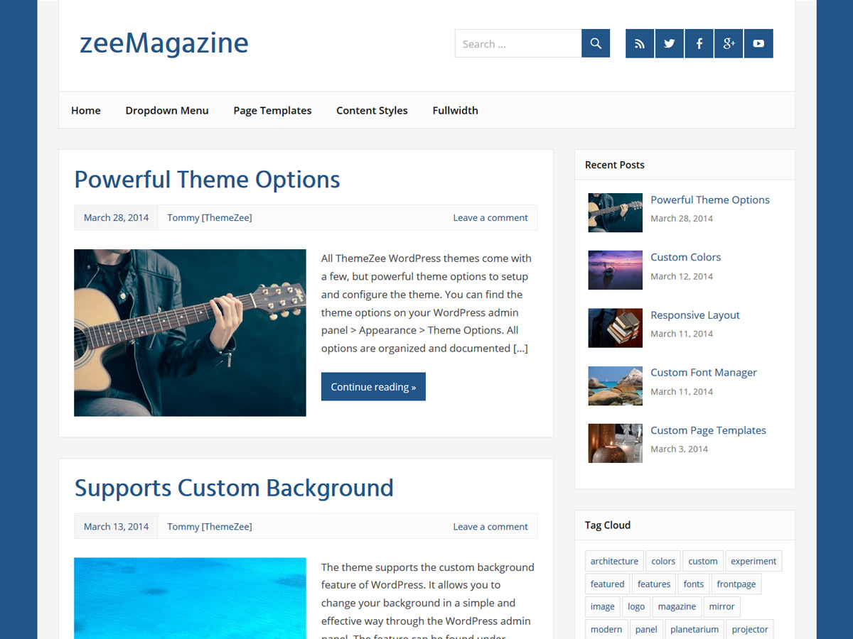 zeeMagazine WordPress magazine theme