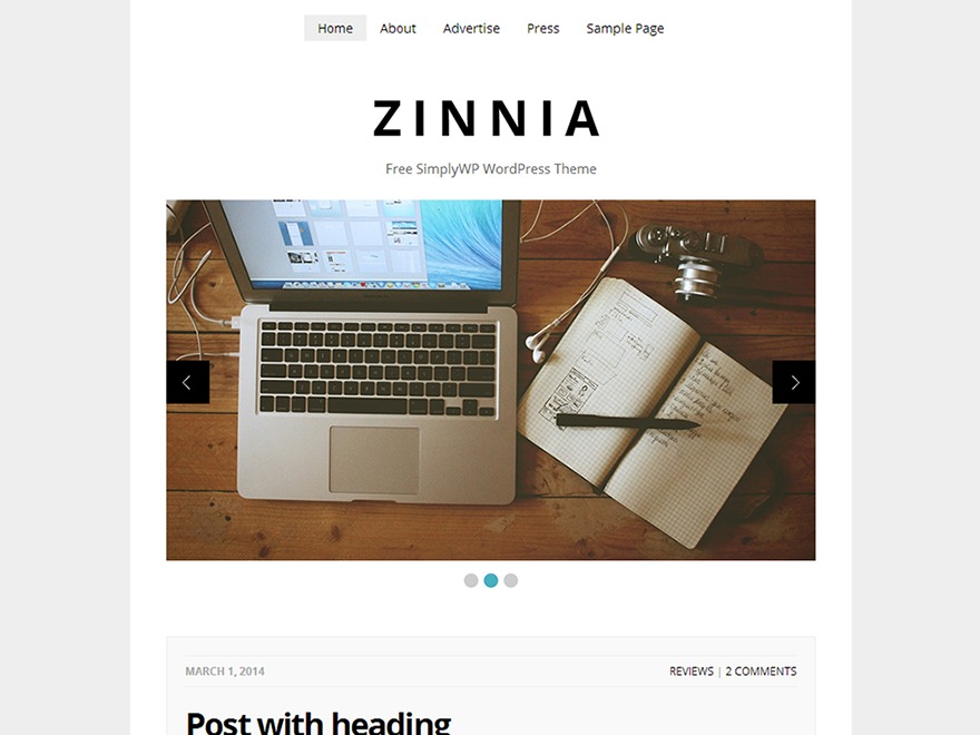 Zinnia WordPress blog template
