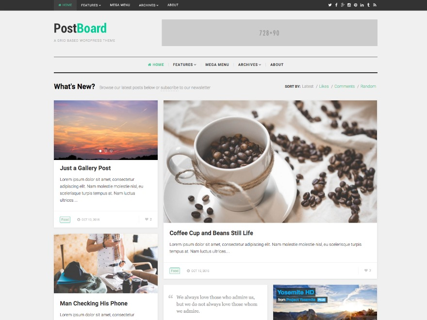 Best WordPress template PostBoard