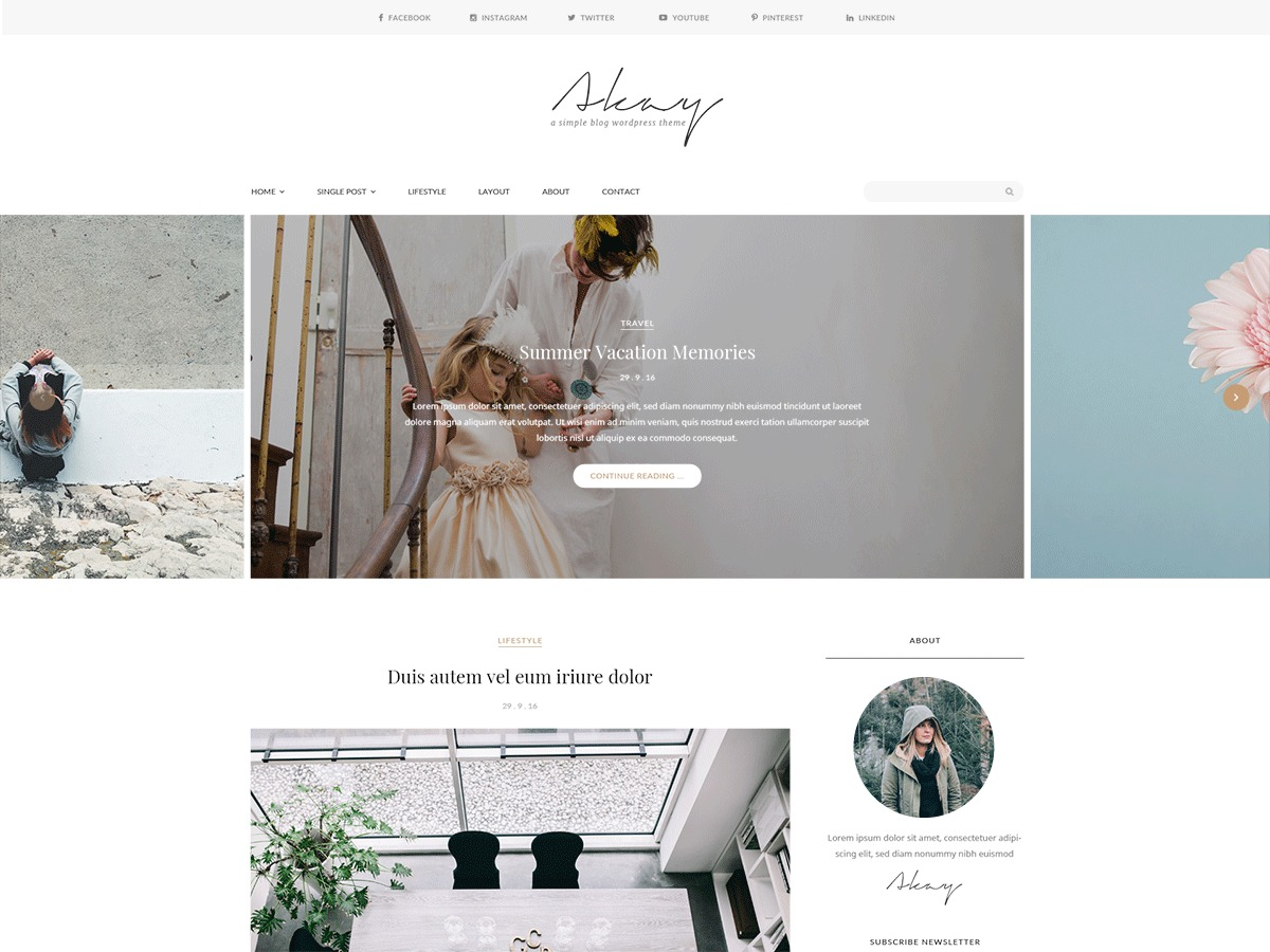 Best WordPress theme Akay