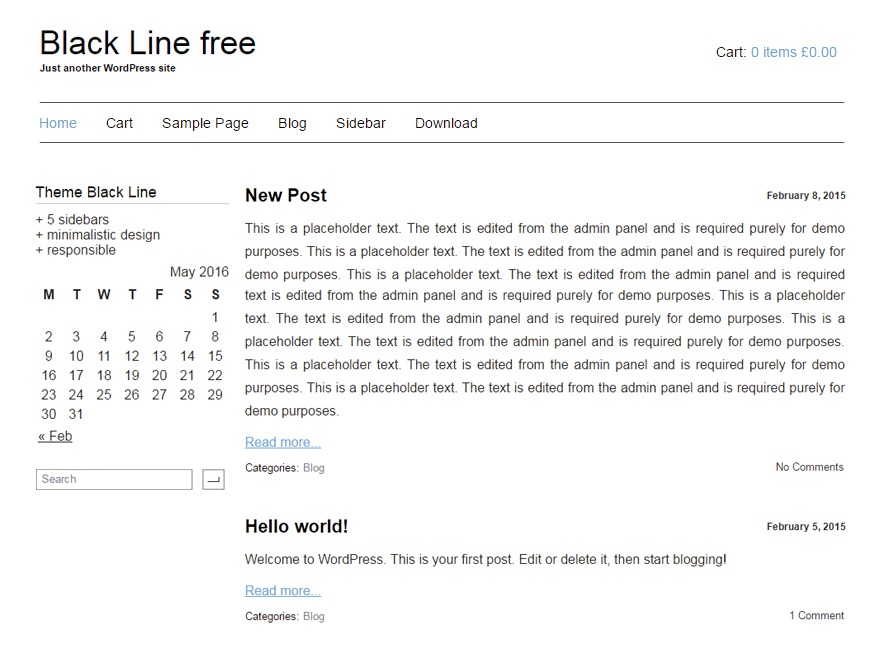 Black Line WordPress shopping theme