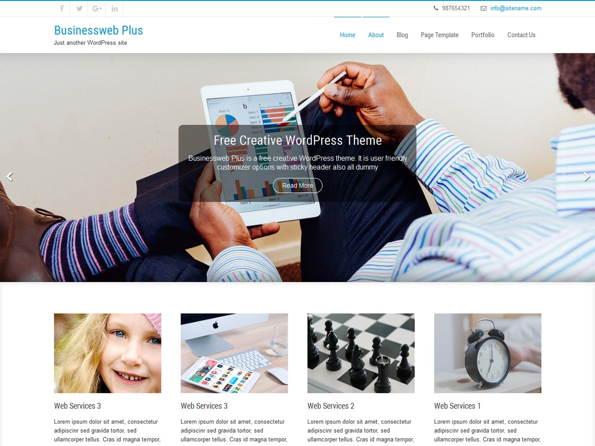 Businessweb Plus free WP theme