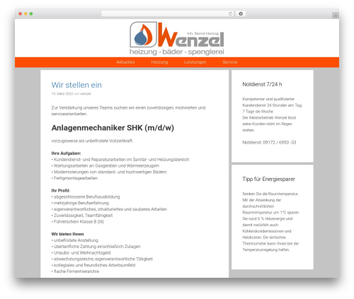 Exhibit free WordPress theme - wenzel-sanitaertechnik.de
