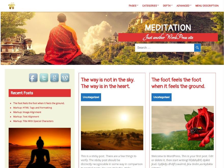 Meditation template WordPress free