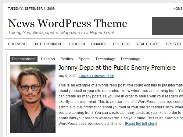 News WordPress news template
