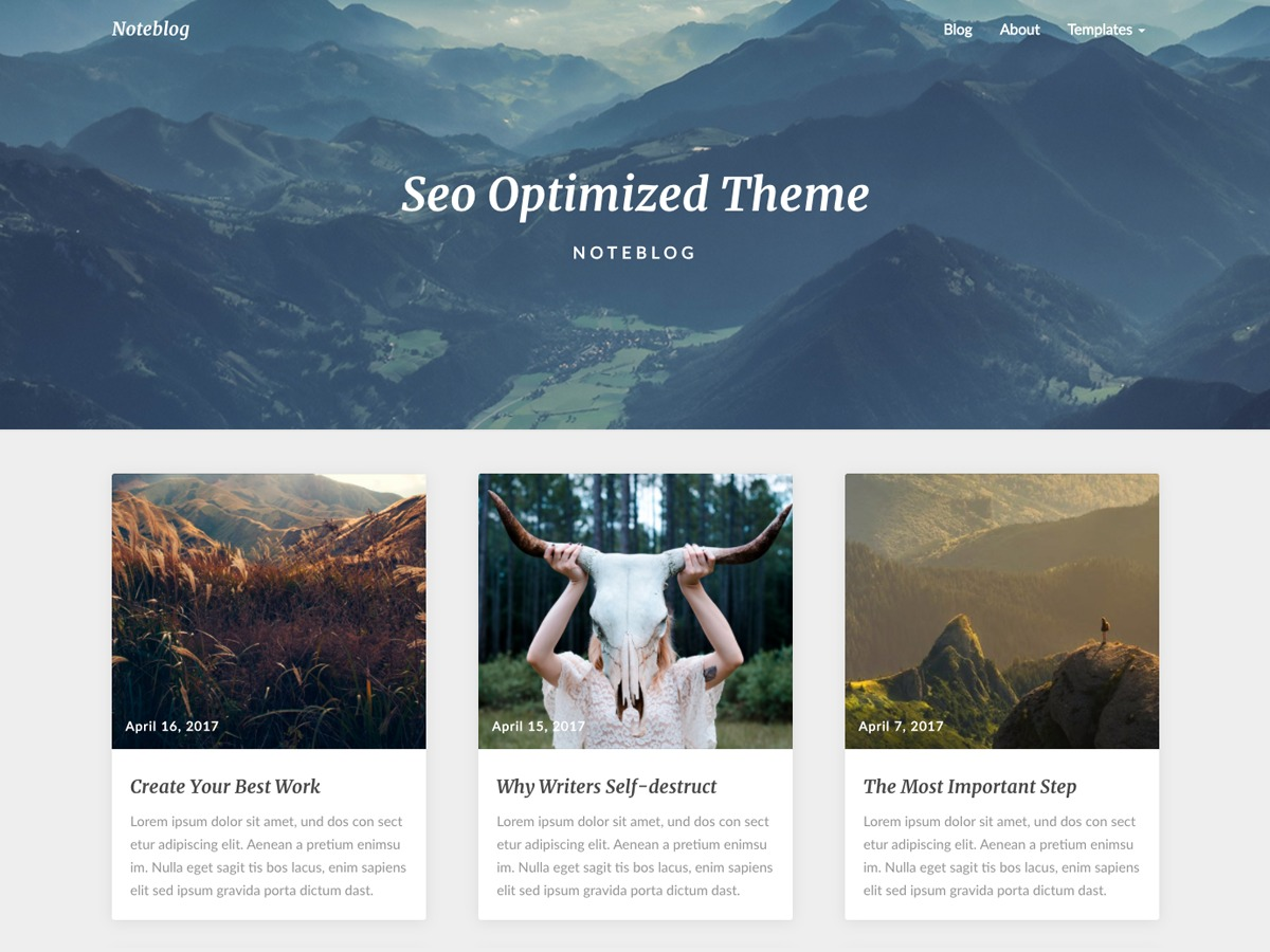 Noteblog WordPress template free
