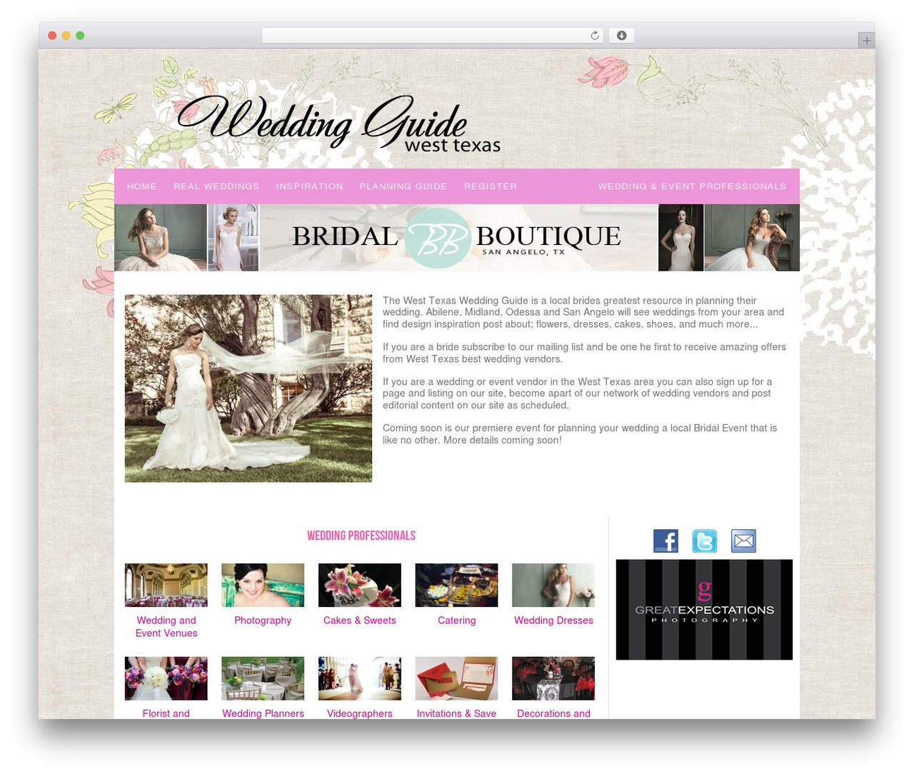 ProPhoto WordPress theme - westtexasweddingguide.com