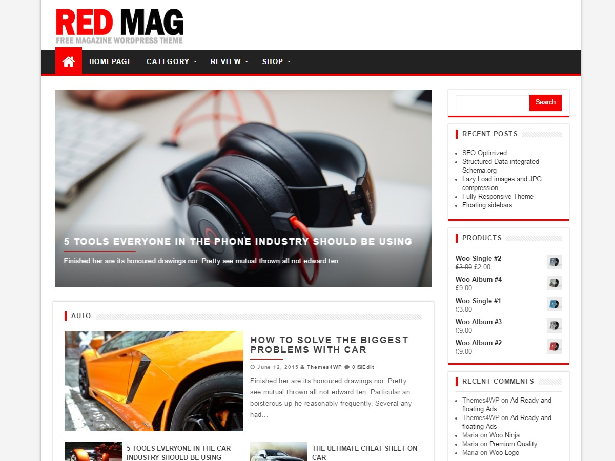 Red Mag WordPress magazine theme