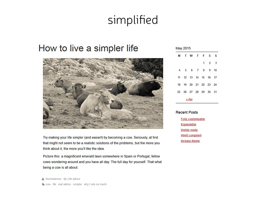 SimplifiedBlog free WordPress theme