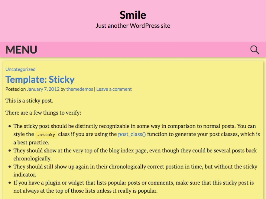 Smile WordPress blog template