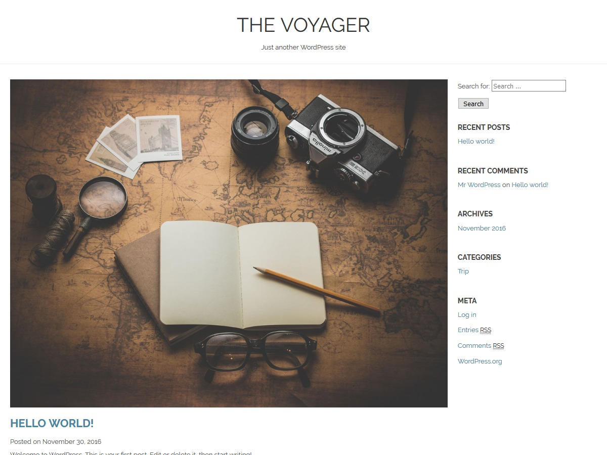 The Voyager WordPress template free