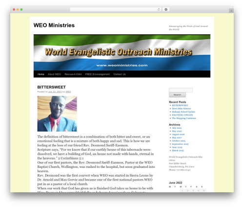 Twenty Ten template WordPress free - weoministries.com