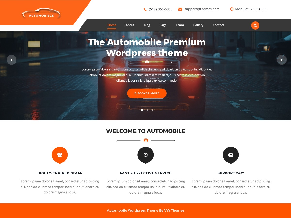 VW Automobile Lite free WP theme