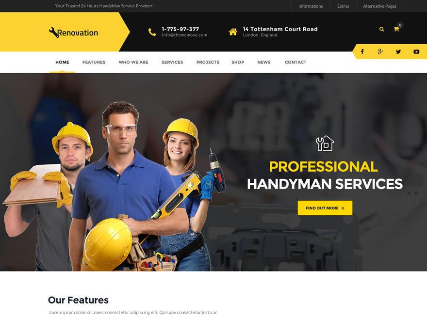 WordPress website template Renovation Child