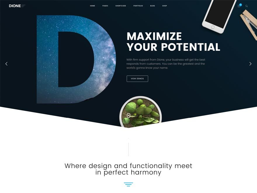 WordPress website template TM Dione