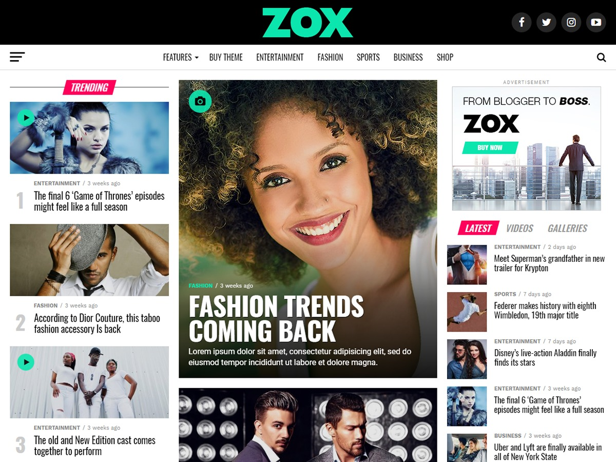 Zox News Child WordPress news theme