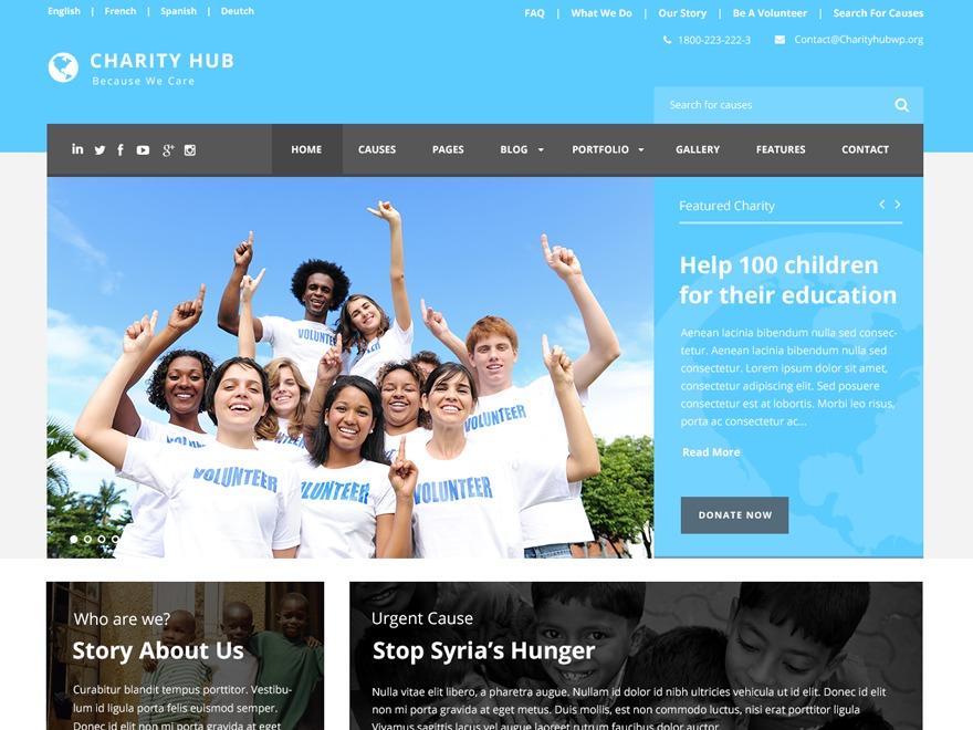 WordPress template Charity Hub Child
