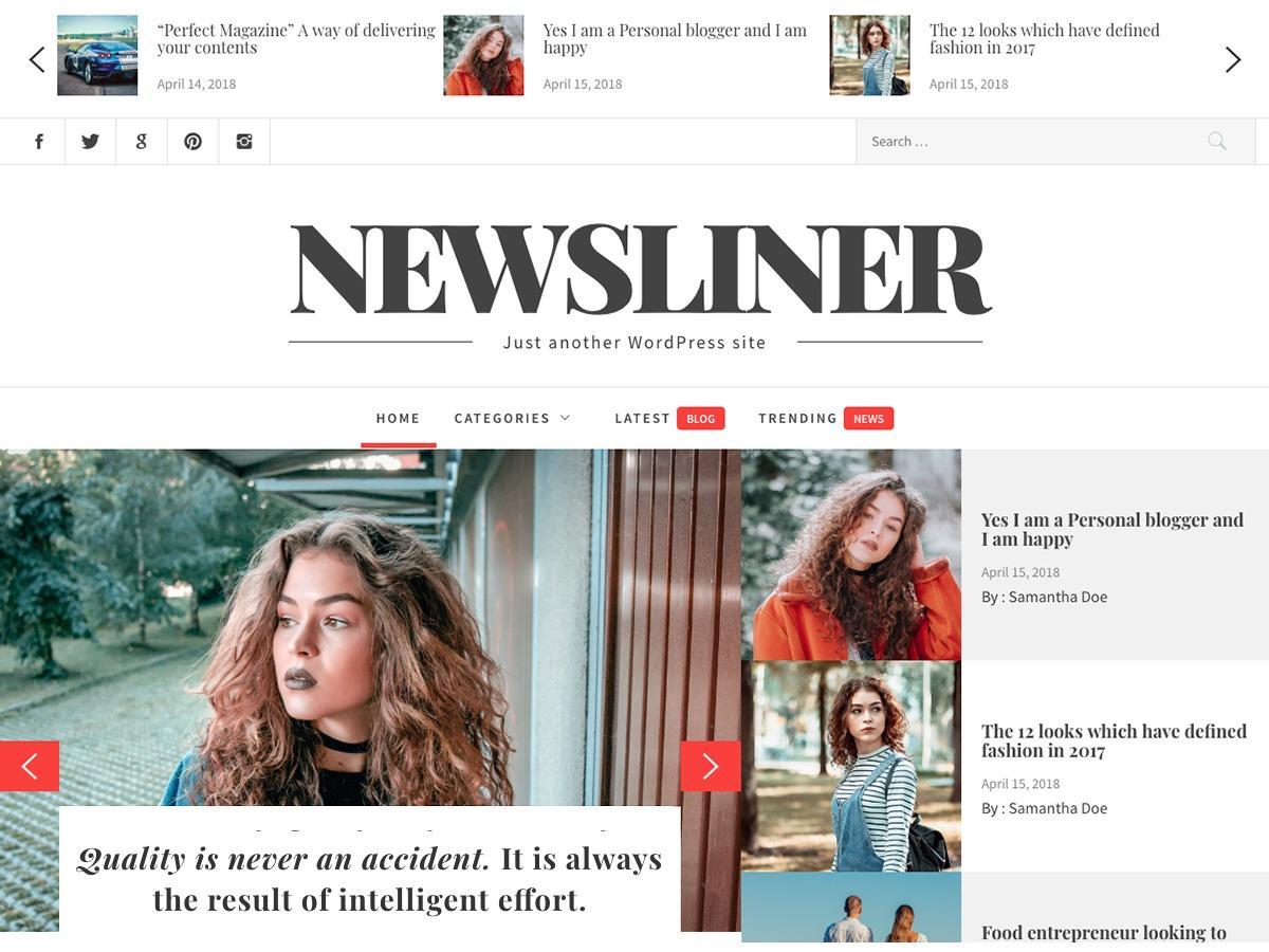 Newsliner best WordPress magazine theme