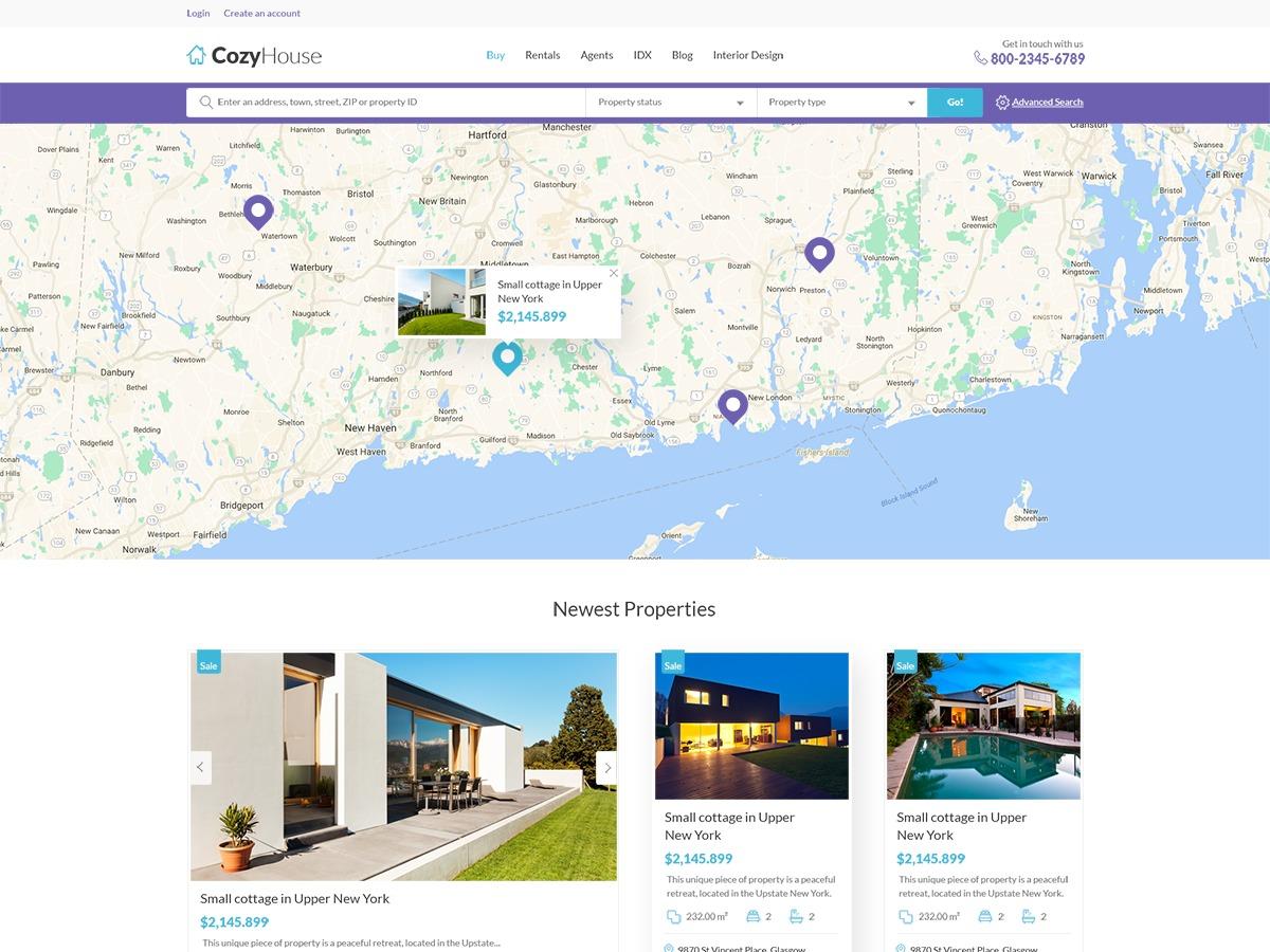 CozyHouse real estate template WordPress