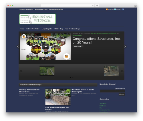 Videozoom WordPress video theme - retainingwallvideos.com
