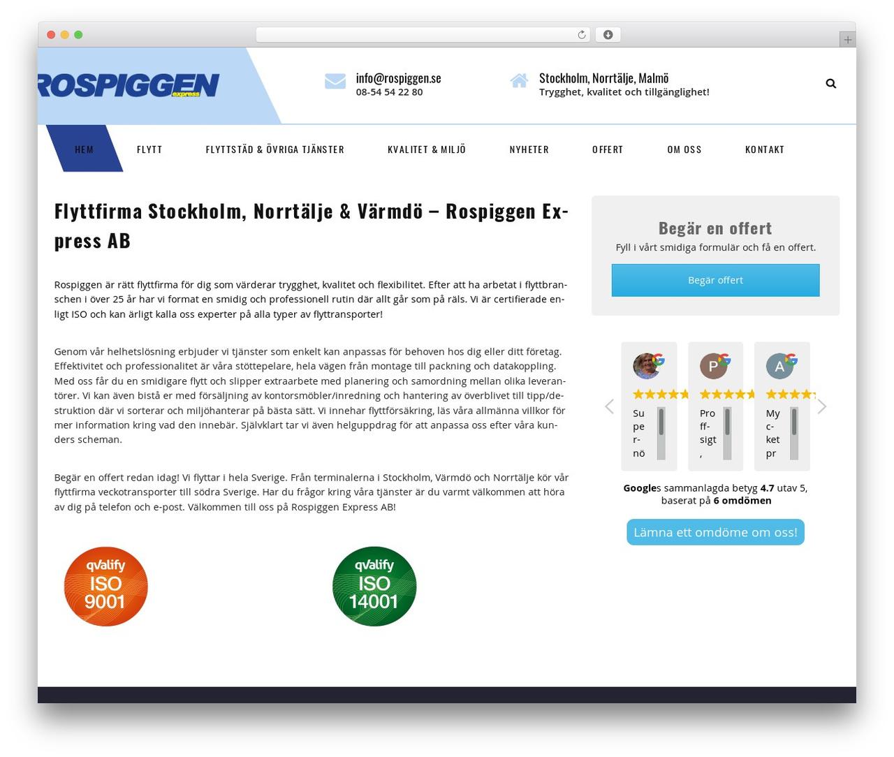 Transport business WordPress theme - rospiggen.se