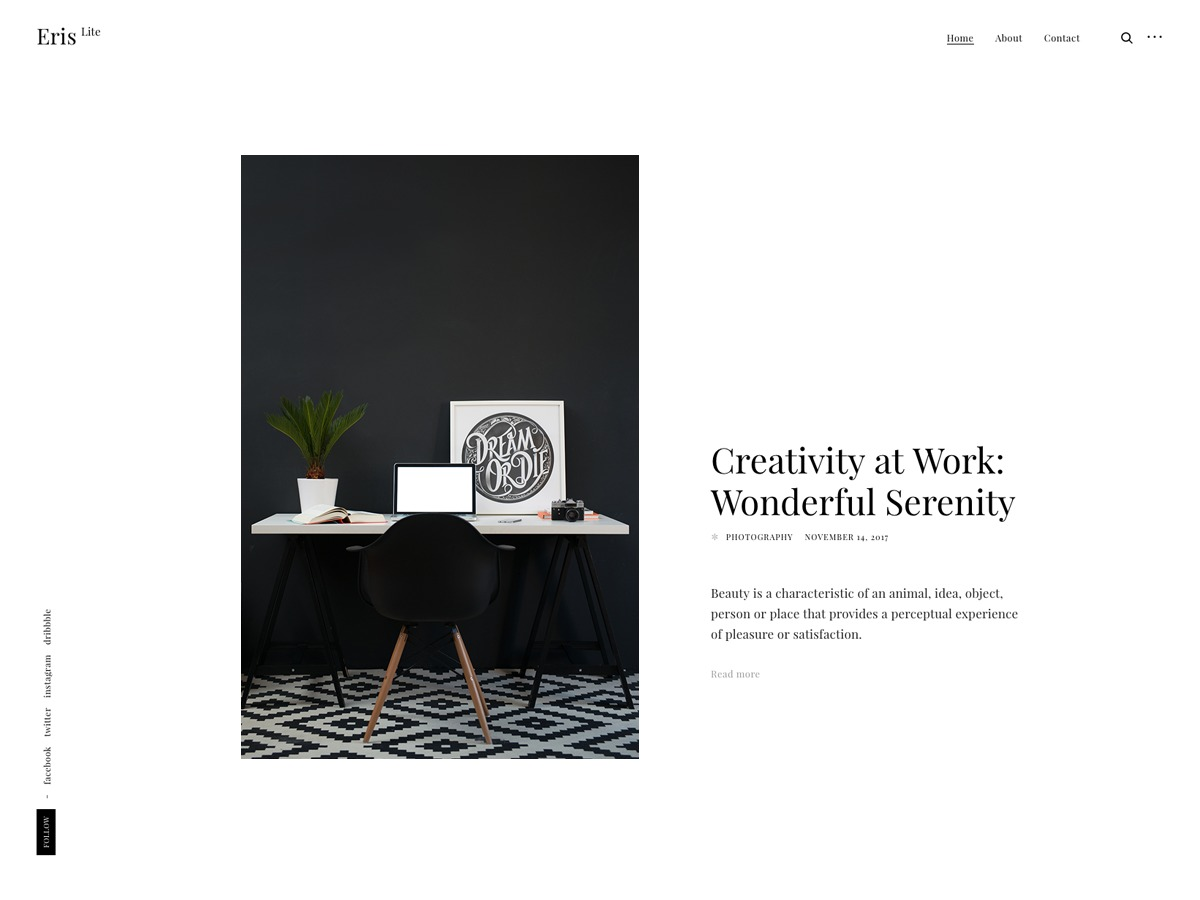 Eris Lite WordPress portfolio template