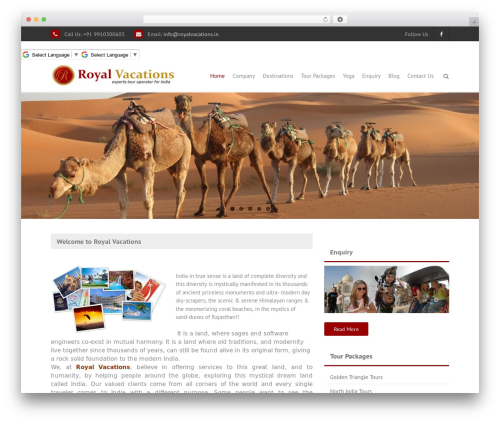 THBusiness best free WordPress theme - royalvacations.in
