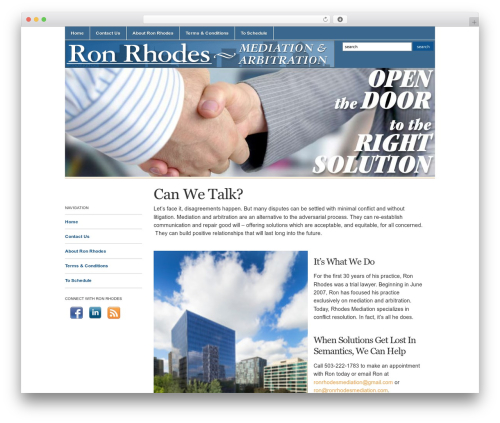 WordPress theme Academica - ronrhodesmediation.com