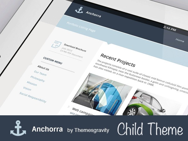 Anchorra Child WP template