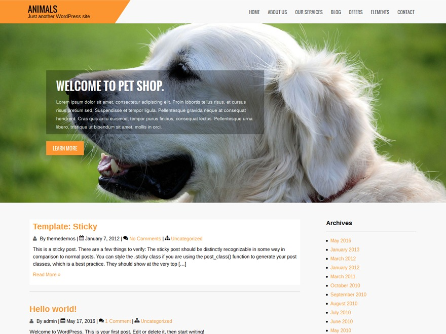 Animals WordPress free download