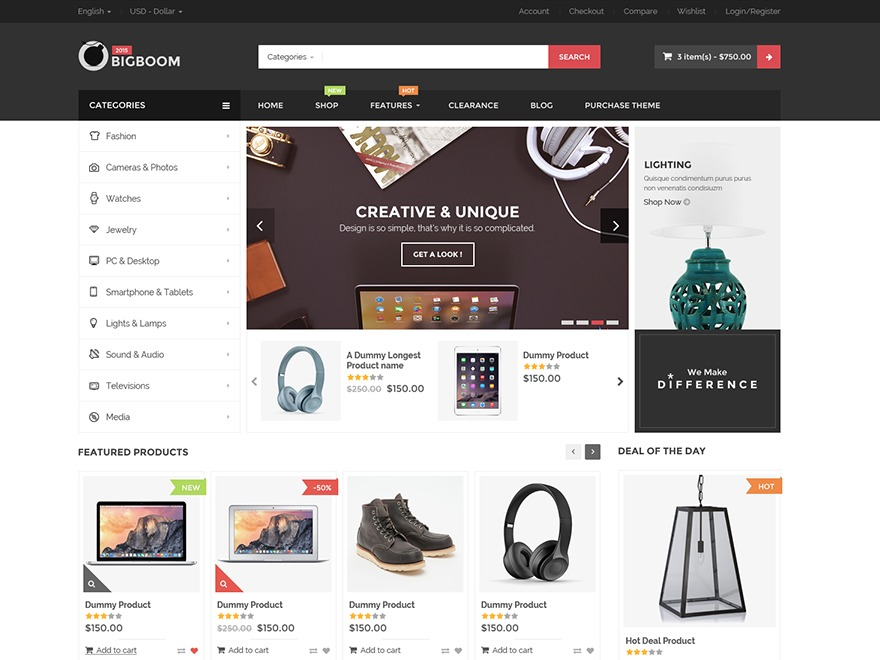 BigBoom WordPress shopping theme