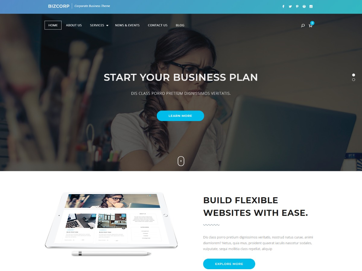 BizCorp best portfolio WordPress theme